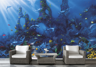 Dolphin 39 s paradise miller cc mural david miller cc for Dolphins paradise wall mural