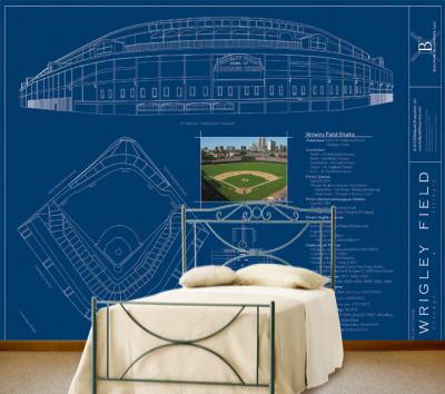 wrigley field blueprint mural ballpark blueprints constable artist brings wrigley field murals into homes
